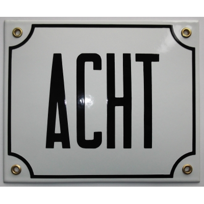 Huisnummerbord 18x15 nummers in letters 'ACHT'