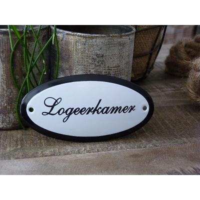 Emaille deurbordje ovaal 'Logeerkamer'