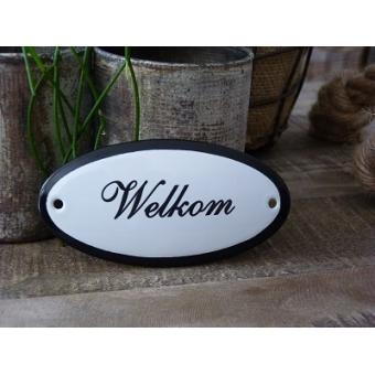 Emaille deurbordje ovaal 'Welkom'