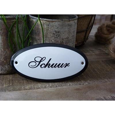 Emaille deurbordje ovaal 'Schuur'