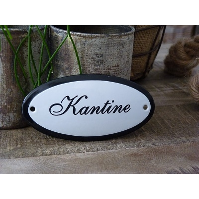 Emaille deurbordje ovaal 'Kantine'