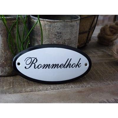 Emaille deurbordje ovaal 'Rommelhok'