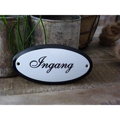 Emaille deurbordje ovaal 'Ingang'