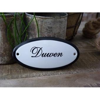 Emaille deurbordje ovaal 'Duwen'