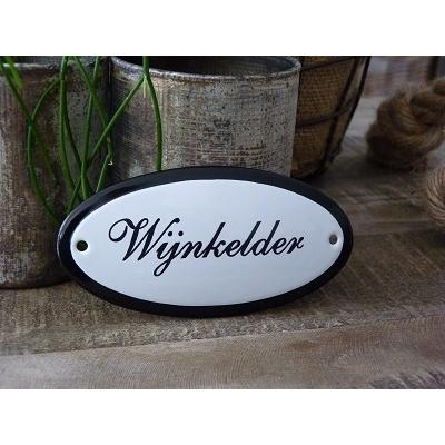 Emaille deurbordje ovaal 'Wijnkelder'