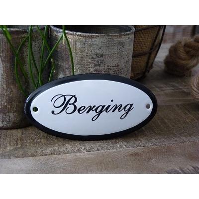 Emaille deurbordje ovaal 'Berging'