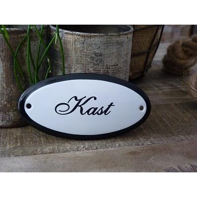 Emaille deurbordje ovaal 'Kast'