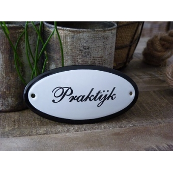 Emaille deurbordje ovaal 'Praktijk'