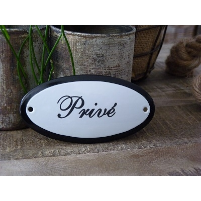 Emaille deurbordje ovaal 'Privé'
