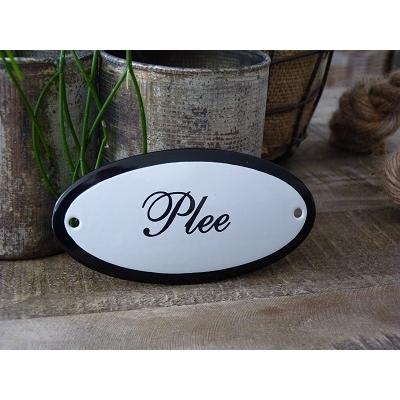 Emaille deurbordje ovaal 'Plee'