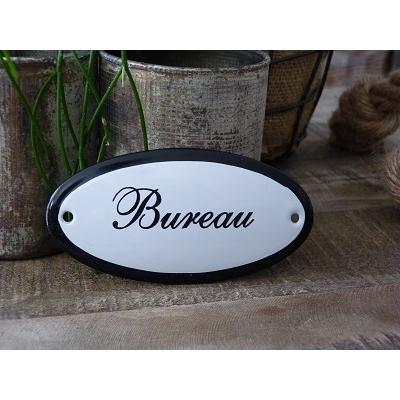 Emaille deurbordje ovaal 'Bureau'