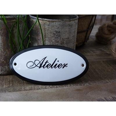 Emaille deurbordje ovaal 'Atelier'