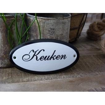 Emaille deurbordje ovaal 'Keuken'