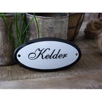 Emaille deurbordje ovaal 'Kelder'