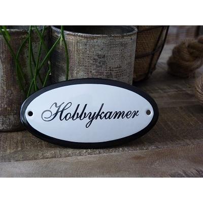 Emaille deurbordje ovaal 'Hobbykamer'