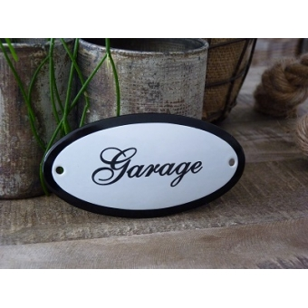 Emaille deurbordje ovaal 'Garage'