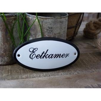 Emaille deurbordje ovaal 'Eetkamer'