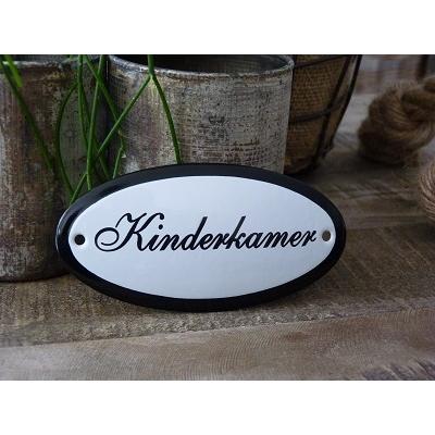 Emaille deurbordje ovaal 'Kinderkamer'