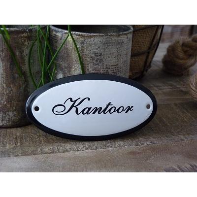 Emaille deurbordje ovaal 'Kantoor'