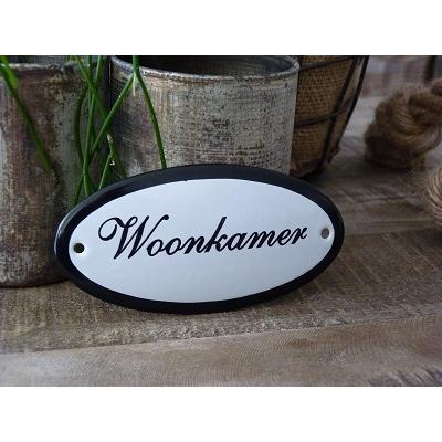 Emaille deurbordje ovaal 'Woonkamer'