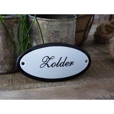 Emaille deurbordje ovaal 'Zolder'