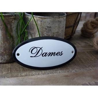 Emaille deurbordje ovaal 'Dames'