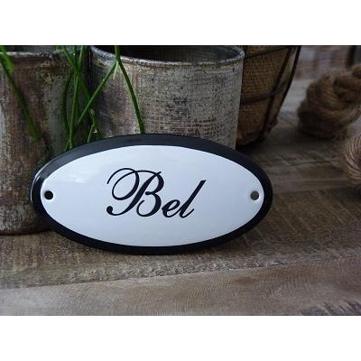 Emaille deurbordje ovaal 'Bel'
