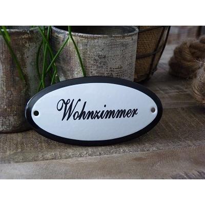 Emaille deurbordje ovaal 'Wohnzimmer'