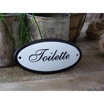 Emaille deurbordje ovaal 'Toilette'