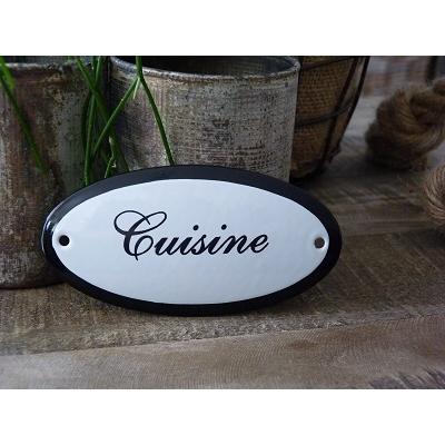 Emaille deurbordje ovaal 'Cuisine'