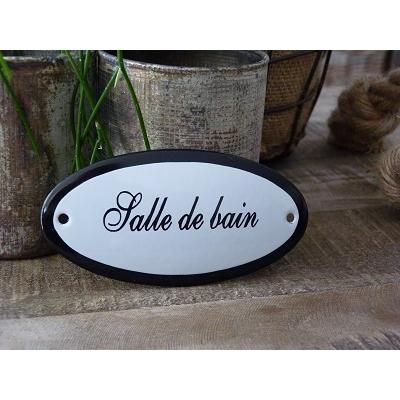 Emaille deurbordje ovaal 'Salle de bain'