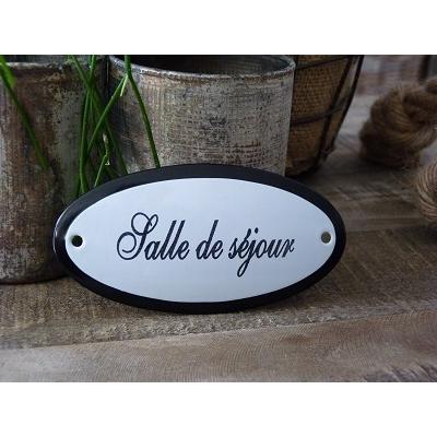 Emaille deurbordje ovaal 'Salle de séjour'
