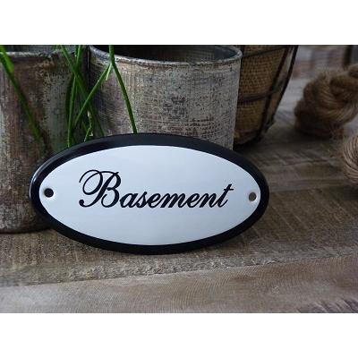 Emaille deurbordje ovaal 'Basement'