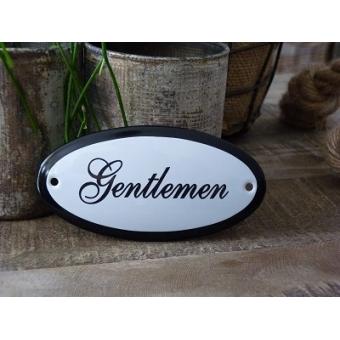 Emaille deurbordje ovaal 'Gentlemen'