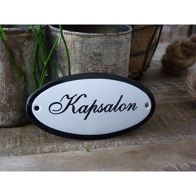 Emaille deurbordje ovaal 'Kapsalon'
