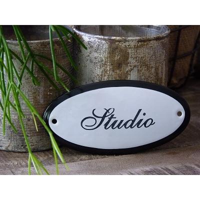 Emaille deurbordje ovaal 'Studio'