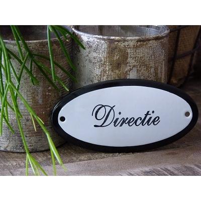 Emaille deurbordje ovaal 'Directie'