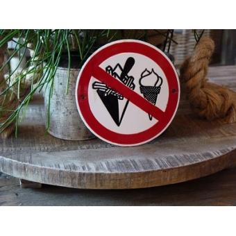 Emaille verbodsbod pictogram 'verboden te eten/drinken'