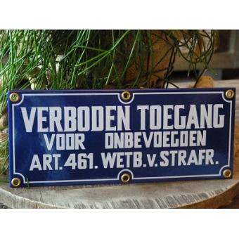 Emaille waarschuwingsbord 'verboden toegang' 35 x 15 cm