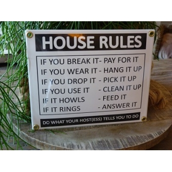Emaille bord 'House rules'