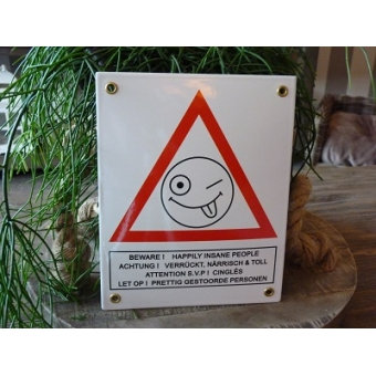 Emaille bord Happily insane people, 4-talig