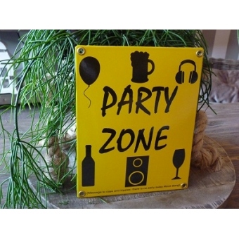 Emaille bord 'Party zone'