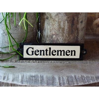 Emaille deurbordje recht 'Gentlemen'