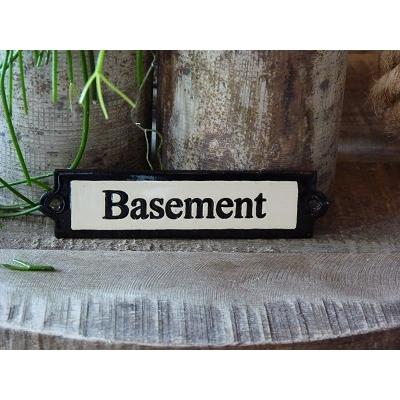 Emaille deurbordje recht 'Basement'