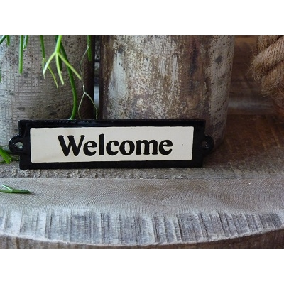 Emaille deurbordje recht 'Welcome'