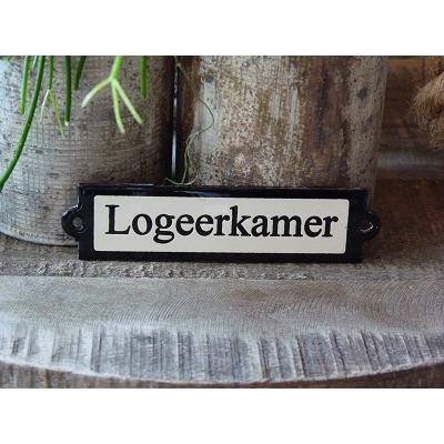Emaille deurbordje recht 'Logeerkamer'
