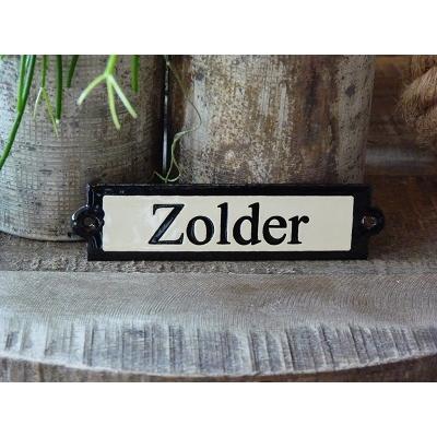 Emaille deurbordje recht 'Zolder'