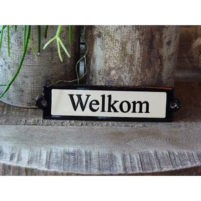 Emaille deurbordje recht 'Welkom'