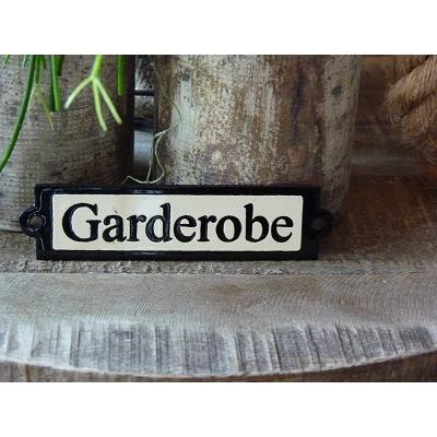 Emaille deurbordje recht 'Garderobe'