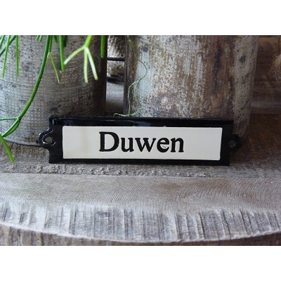 Emaille deurbordje recht 'Duwen'